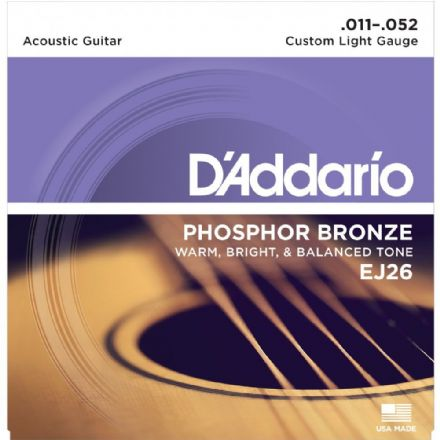 D'addario EJ26 Phosphor Bronze 11-52 Acoustic Guitar Strings